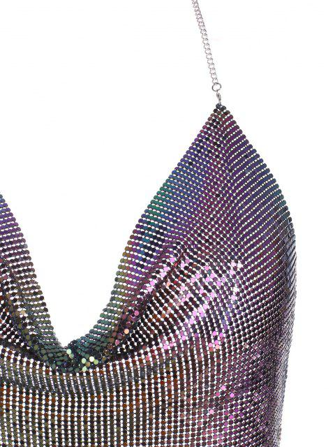 affordable Cowl Front Metallic Disco Club Crop Top - BLUE ONE SIZE Mobile