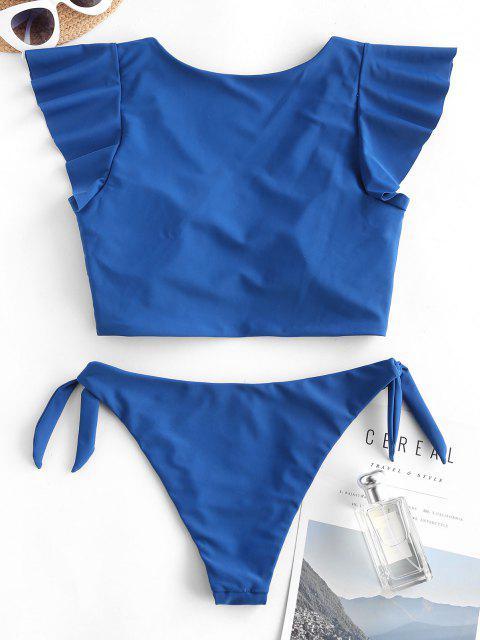 ZAFUL Bañador de Dos Piezas con Lazo Fruncido - Azul XXL Mobile