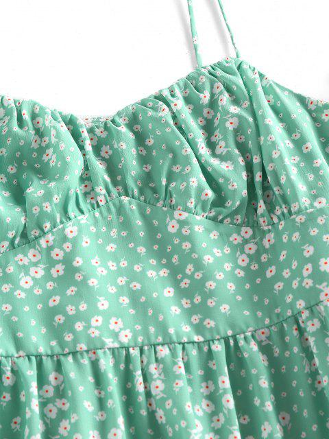 womens ZAFUL Ditsy Print Tie Shoulder Cupped Tiered Dress - LIGHT GREEN S Mobile