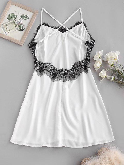 shop Lace Eyelash Panel Criss Cross Slip Backless Dress - WHITE L Mobile