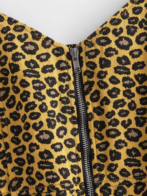 online Leopard Zip Front Denim Bodycon Dress - DEEP YELLOW L Mobile