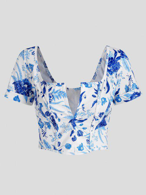 womens Hook and Eye Plant Print Corset Detail Crop Top - BLUE L Mobile
