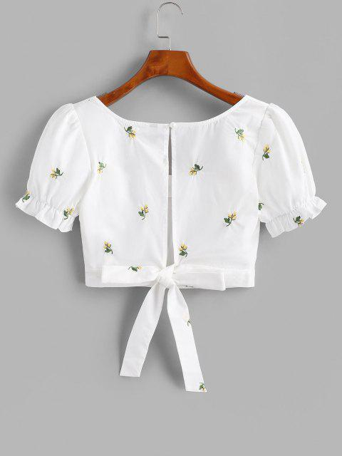 buy Flower Embroidered Puff Sleeve Ruffle Cutout Crop Blouse - WHITE M Mobile