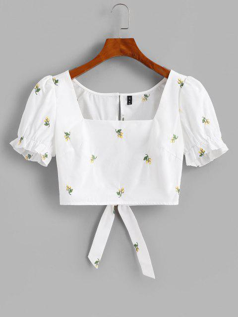 latest Flower Embroidered Puff Sleeve Ruffle Cutout Crop Blouse - WHITE L Mobile