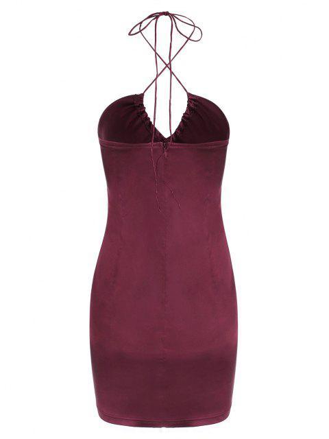 trendy Satin Halter Mini Bodycon Dress - DEEP RED S Mobile
