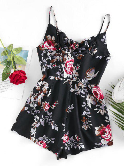 lady ZAFUL Flower Tied Cami Loose Romper - BLACK S Mobile