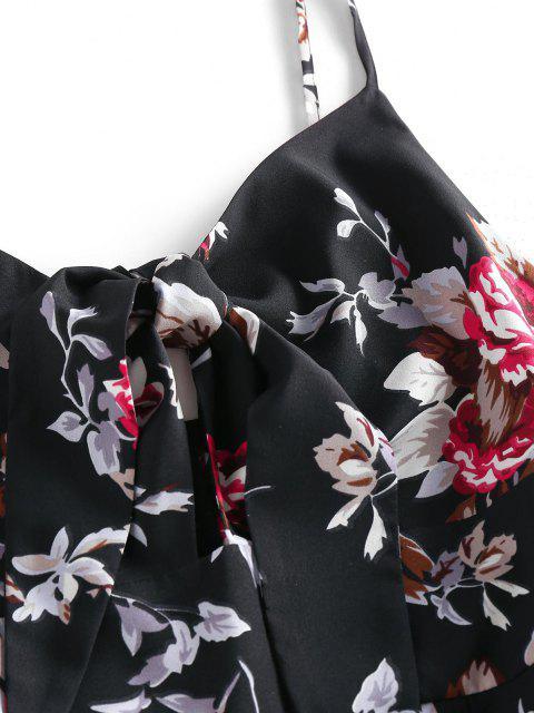 ZAFUL Mono Suelto de Flores con Lazo - Negro S Mobile