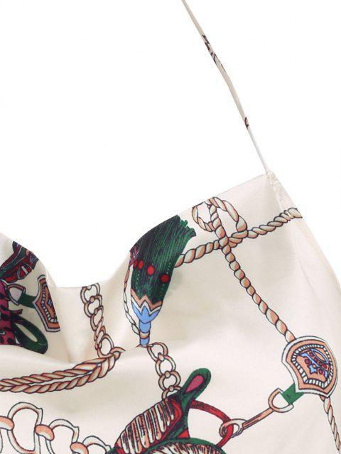Top in Raso a Stile Barocco con Halter - Giallo chiaro L Mobile