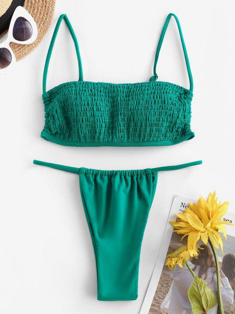ZAFUL Gebundener Kittel Tanga Bikini Badebekleidung - Dunkelgrün S Mobile