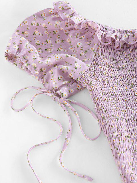 ZAFUL Ditsydruck Kittel Rüsche Schulterfreie Crop Bluse - Helles Lila S Mobile