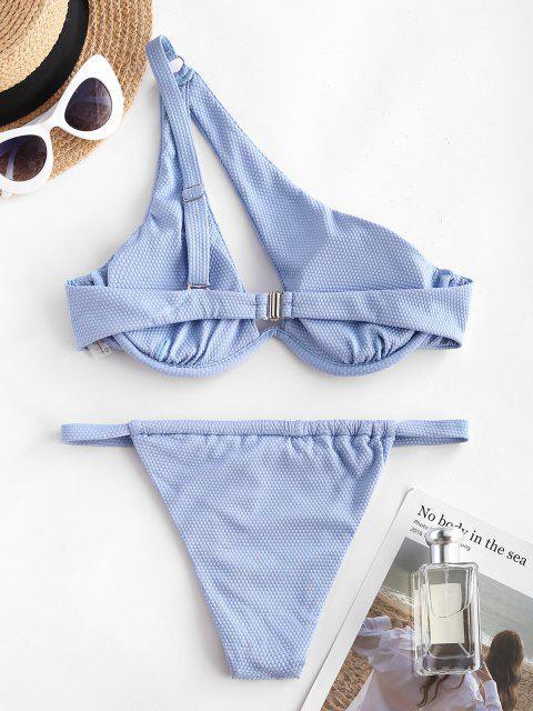 latest ZAFUL One Shoulder Cutout Monowire Tanga Bikini Swimwear - LIGHT BLUE M Mobile