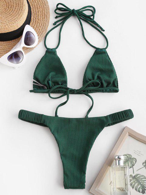 ZAFUL Costume da Bagno Bikini a Coste Incrociate - Verde intenso S Mobile