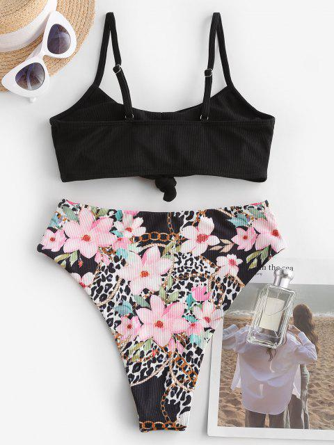 latest ZAFUL Floral Mix Leopard Ribbed Knot High Leg Tankini Swimwear - BLACK M Mobile