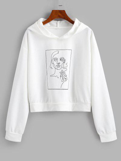 Drop Shoulder Sketching Figure Graphic Hoodie - White S