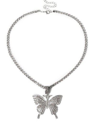 Collier Pendant Motif De Grand Papillon Avec Strass - Argent