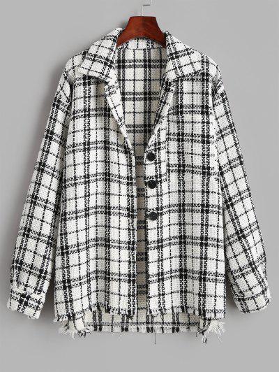 Plaid Tweed Front Pocket Shacket - White Xs