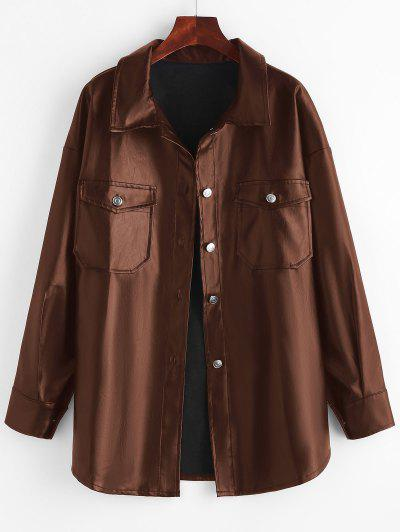 Faux Leather Front Pocket Shacket - Coffee S
