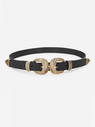 Retro Engraved Double Buckle Waist Belt - Black