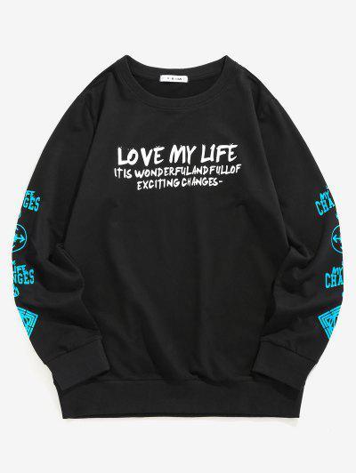 ZAFUL Love My Life Slogan Graphic Sweatshirt - Black L