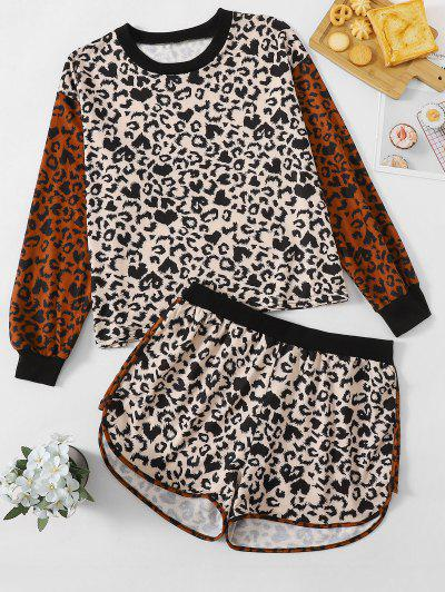 Plus Size Crew Neck Leopard Two Piece Set - Multi 5xl