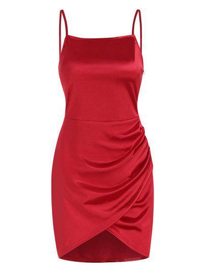 Overlap Silky Draped Slinky Slip Dress - Red M