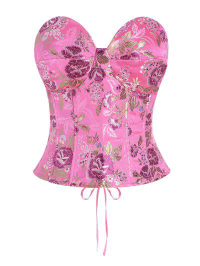 Lace Up Floral Jacquard Oriental Corset Top - Light Pink S