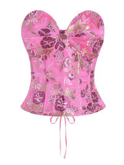 Lace Up Floral Jacquard Oriental Corset Top - Light Pink M
