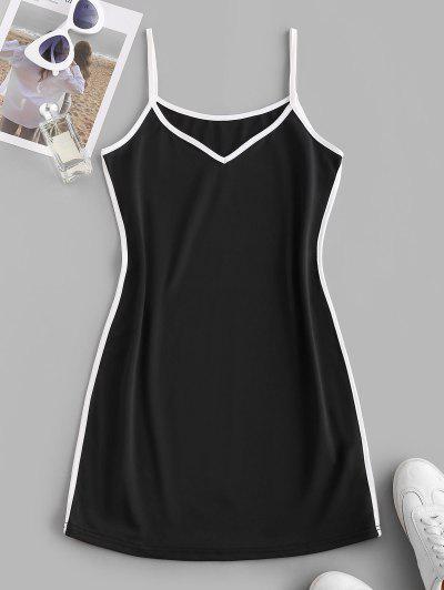Contrast Binding Cami Mini Tank Dress - Black M