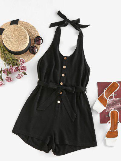 ZAFUL Halter Button Placket Backless Belted Romper - Black M