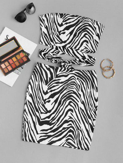 ZAFUL Zebra Print Knotted Tube Two Piece Set - Black S