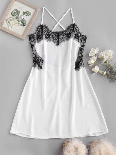 Lace Eyelash Panel Criss Cross Slip Backless Dress - White S