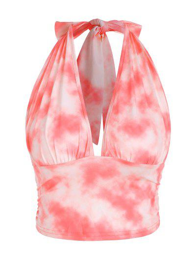 Halter Tie Dye Open Back Crop Top - Light Pink M