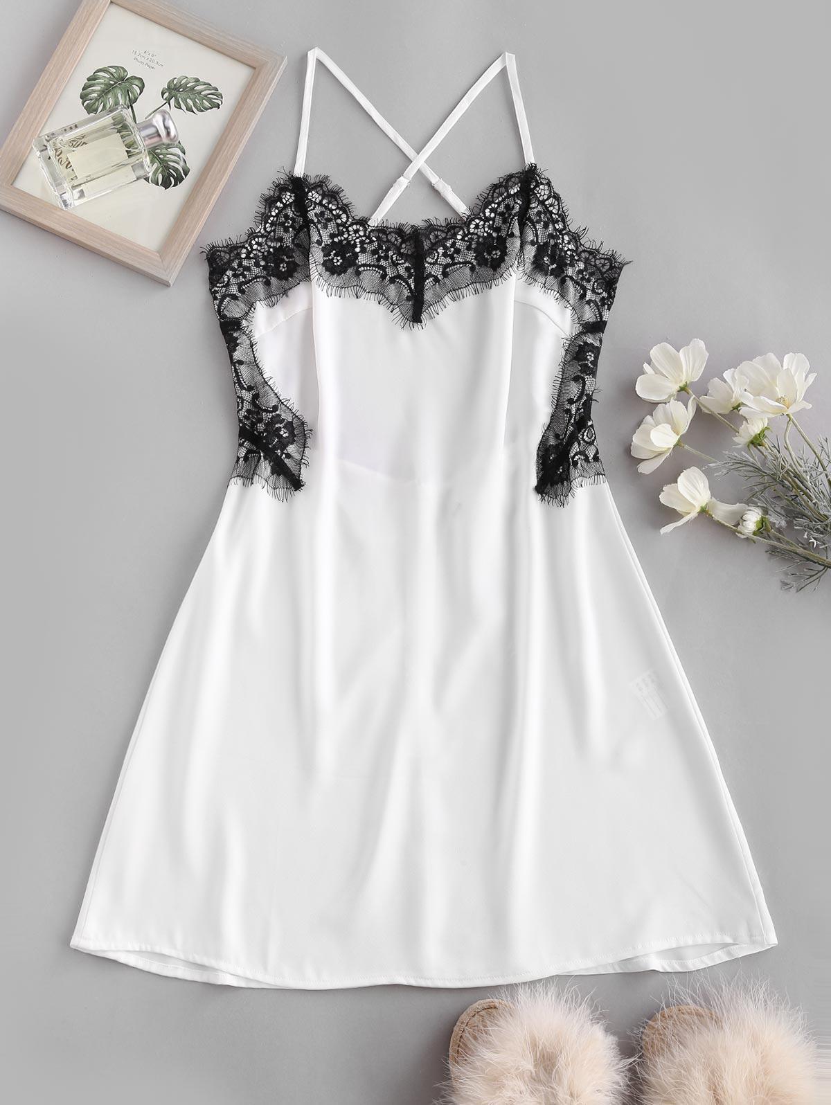 Zaful Lace Panel Cami Dress