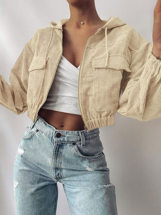 lady ZAFUL Corduroy Drop Shoulder Pocket Hooded Jacket - LIGHT KHAKI M