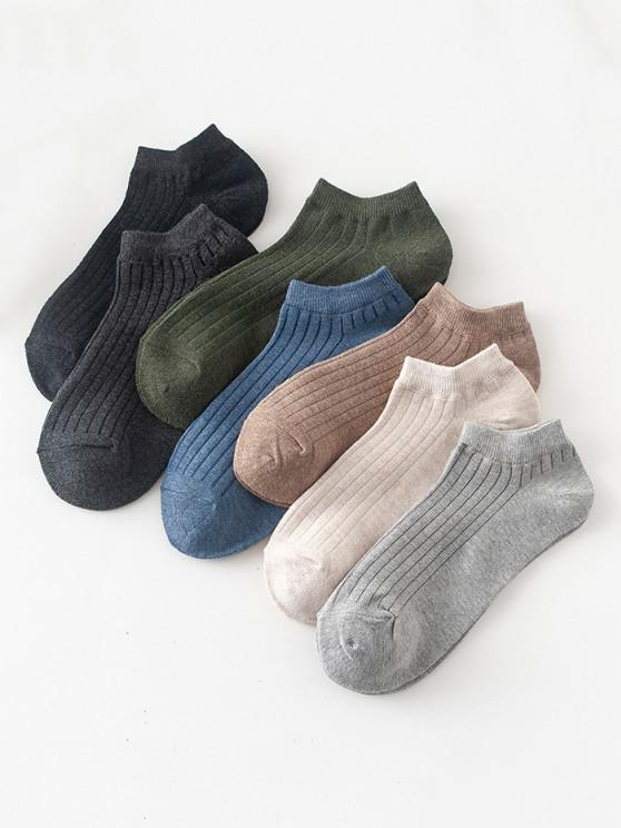 7 Pairs Plain Ribbed Ankle Socks Set - متعدد