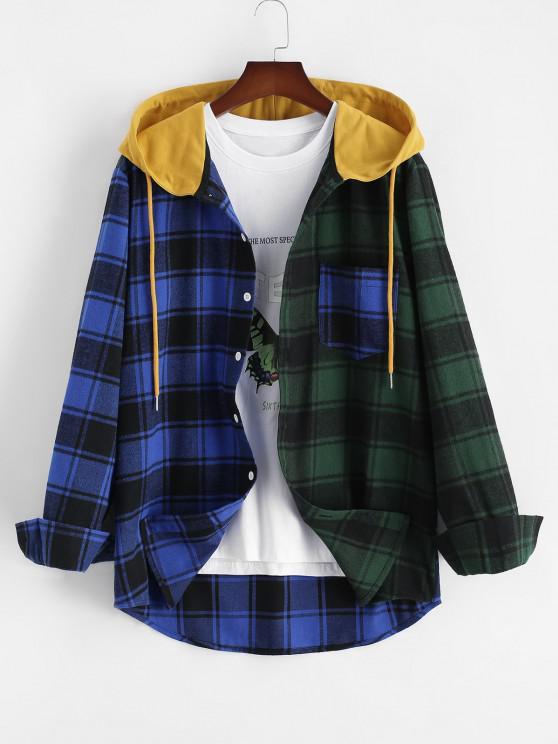 Colorblock Plaid Hooded Shirt Jacket - أزرق M