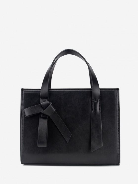 affordable Solid Rectangle Knot Embellished Shoulder Bag - BLACK