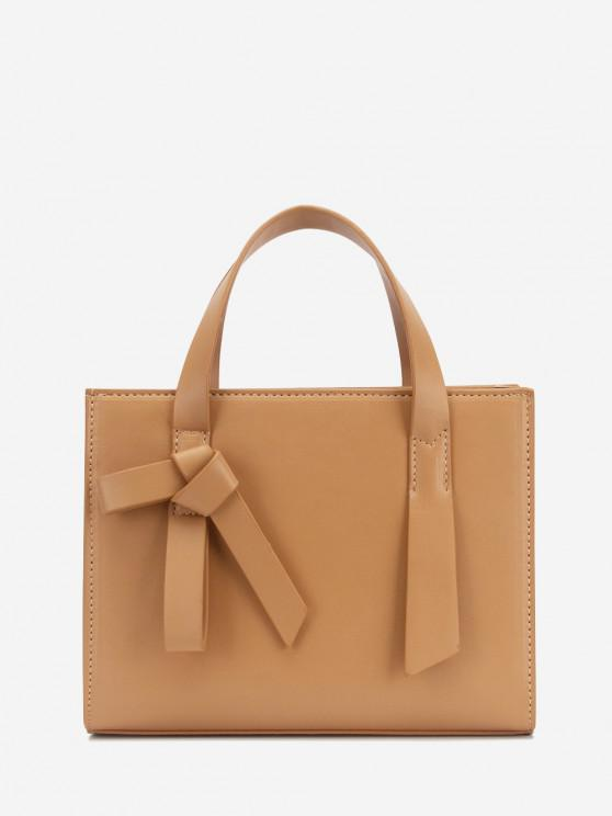 womens Solid Rectangle Knot Embellished Shoulder Bag - TIGER ORANGE