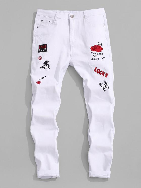 fancy Floral Letter Embroidery Zipper Fly Casual Pencil Jeans - WHITE 42