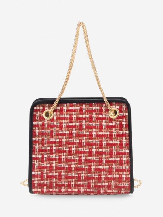 sale Tweed Plaid Pattern Chain Handbag - RED WINE