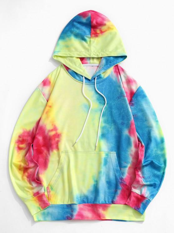 fashion Tie Dye Print Front Pocket Hoodie - MULTI L