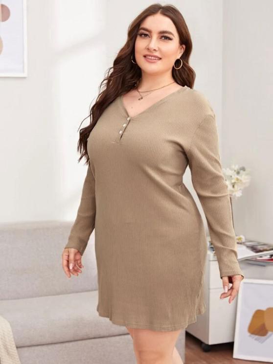 sale Plus Size Rib-knit Basic Night Dress - LIGHT COFFEE 5XL