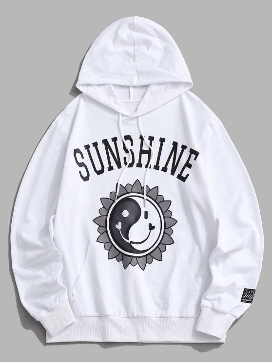 shop Sunshine Yin Yang Happy Face Flower Hoodie - WHITE S