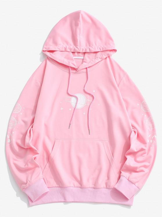 outfits Planet Print Kangaroo Pocket Hoodie - LIGHT PINK M