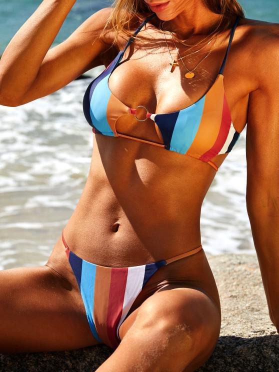 womens ZAFUL Colorblock Striped O-ring Tanga Bikini Swimwear - MULTI S