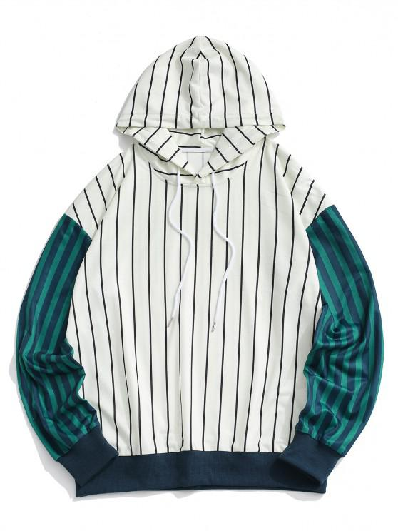 Two Tone Striped Drop Shoulder Hoodie - أبيض S