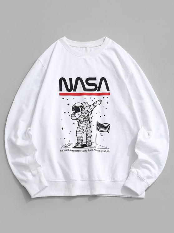 lady American Flag Astronaut Graphic Crew Neck Sweatshirt - WHITE S