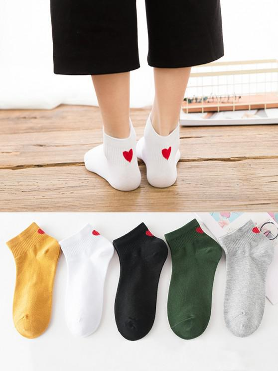5 Pairs Heart Pattern Ankle Socks Set - متعدد