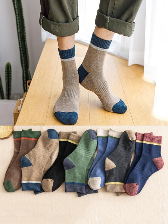 best 7 Pairs Cozy Colorblock Crew Socks Set - MULTI