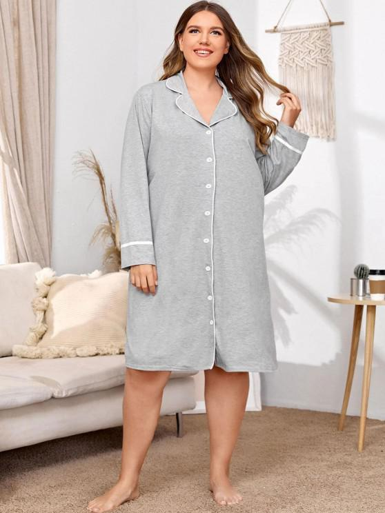 Plus Size Marled Piping Sleep Dress - Hellgrau 5XL